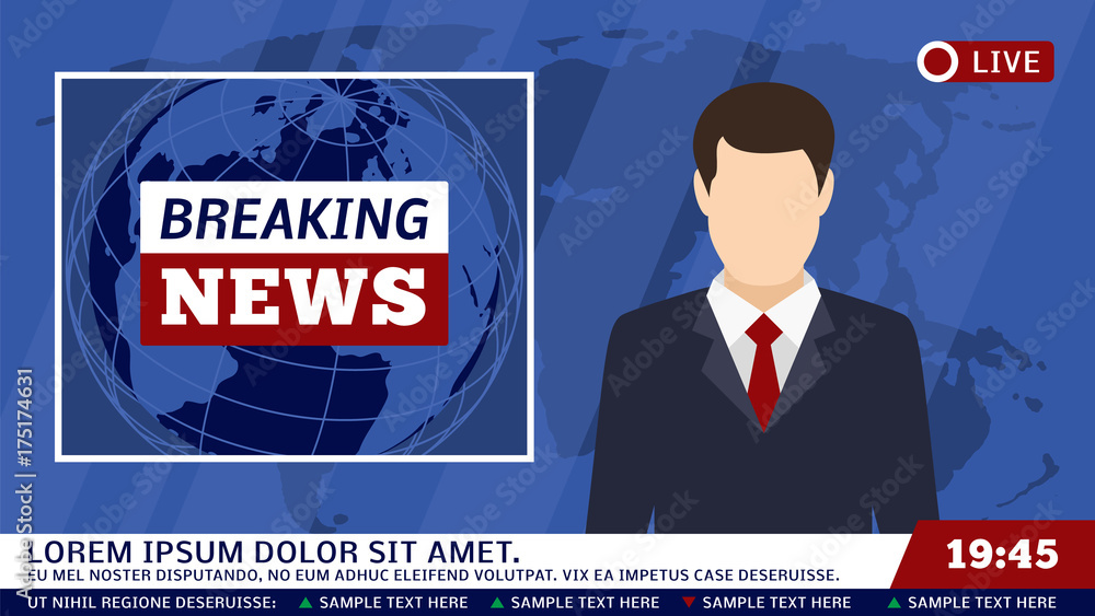 Fototapeta TV news studio with broadcaster and breaking world background vector illustration