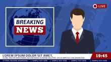 TV News Studio With Broadcaste...