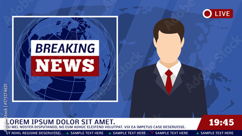 Cuadros en Lienzo TV news studio with broadcaster and breaking world background vector illustratio