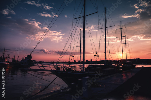 In de dag Noord Europa Silhouette photo of sailing ship, Nesebar