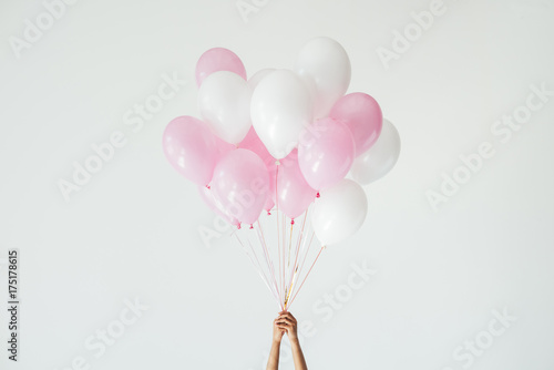 Fotografie, Obraz bunch of pink and white balloons