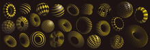 Black And Yellow 3d Shapes Vec...