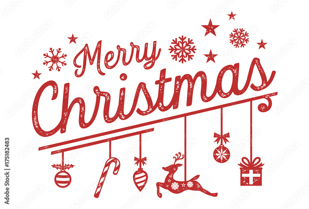 Christmas Lettering.Merry Christmas Lettering Design With Hanging Ornaments
