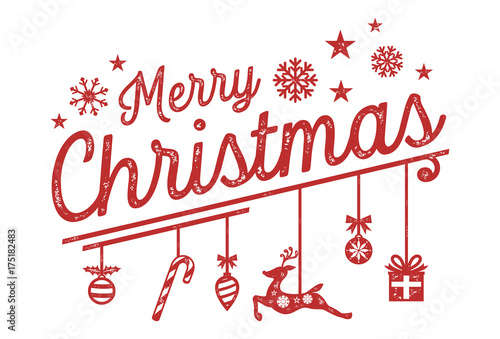 Fotografie, Obraz Merry Christmas Lettering Design with Hanging Ornaments, Grunge Style, Vector