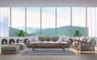 Modern living room with mountain view 3d rendering image. There are wood floor.Furnished with fabric and wooden furniture. There are large window overlooking the surrounding nature and mountain