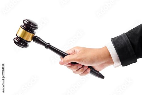 wooden gavel in hand. фототапет