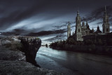 View of dark castle with dark sky