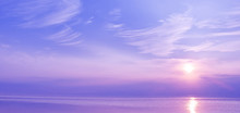 Beautiful Sunset Over The Sea Of Blue And Violet Colors