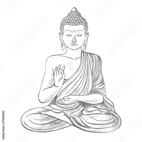 Stampa su Tela Gautama buddha with raised right hand on vector illustration