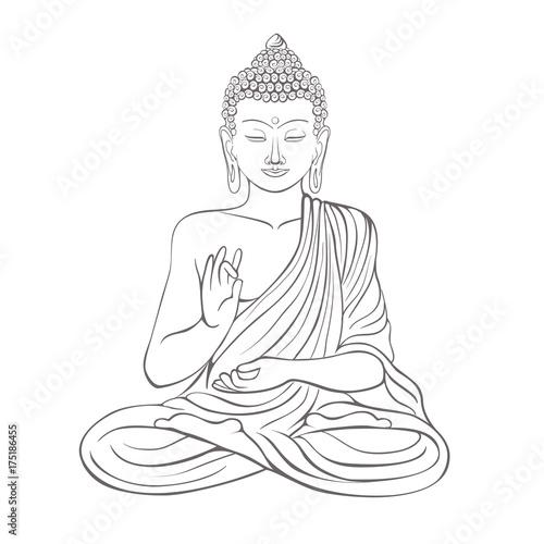 Gautama buddha with raised right hand on vector illustration Fototapete