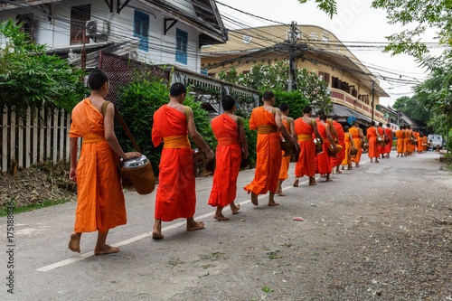 Buddhist monks in a line in Luang Prabang, Laos Canvas Print