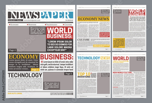 Newspaper Online Template Realistic Poster Buy This Stock Vector