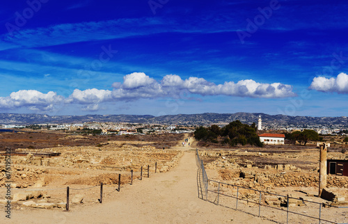 Foto op Plexiglas Cyprus Ancient ruins of Kourion city near Pathos and Limassol, Cyprus. Ruins and road under blue sky. Travel outdoor background