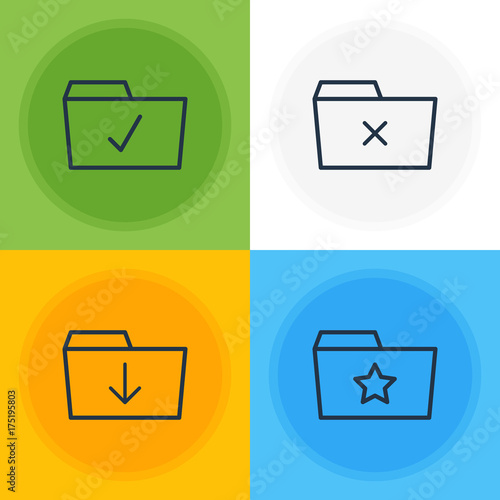 Fotografie, Obraz  Vector Illustration Of 4 Document Icons