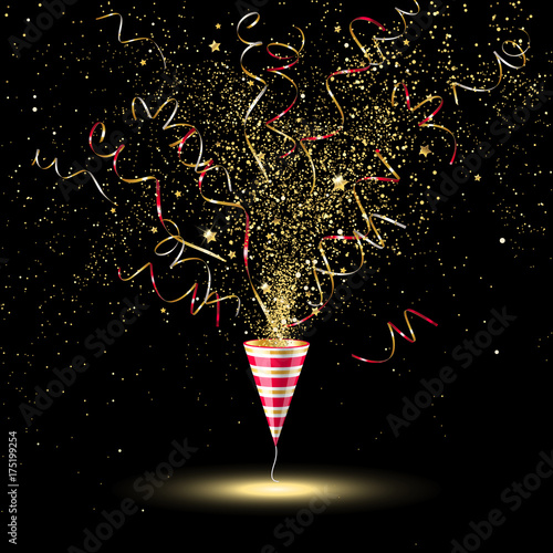 Fotografia, Obraz  Festive Party Popper with Gold Confetti and Serpentine