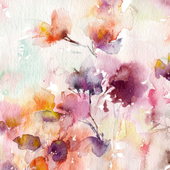 Floral background. Watercolor floral background. Greeting card. Wedding invitation template. Floral card. Pink spring flowers. Wedding bouquet. Watercolor floral wall art painting for home decor.