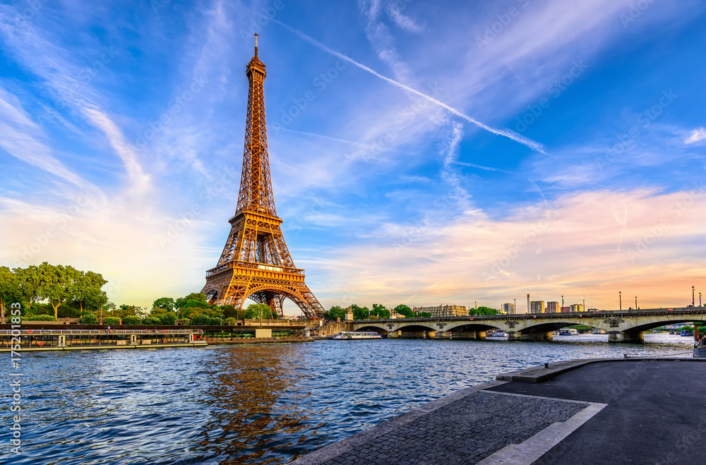 Fototapeta Paris Eiffel Tower and river Seine at sunset in Paris, France. Eiffel Tower is one of the most iconic landmarks of Paris.