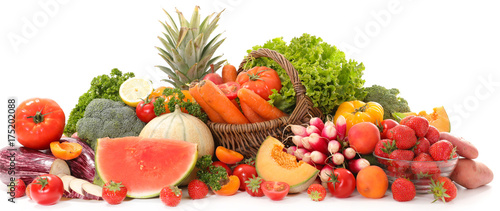 assorted raw fruit and vegetable © M.studio