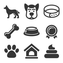 Dog Icons Set On White Backgro...