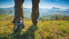 Hiker Walking By The Meadow