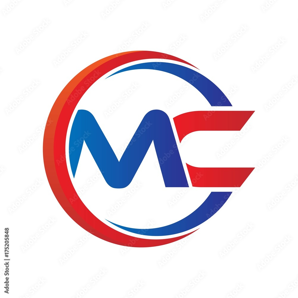 Fototapeta mc logo vector modern initial swoosh circle blue and red