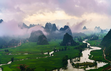 Vietnam Landscape With Rice Fi...