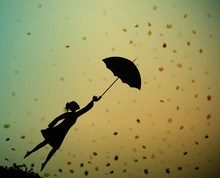 Young Girl Flying Away With An Umbrella, Autumn Wind,