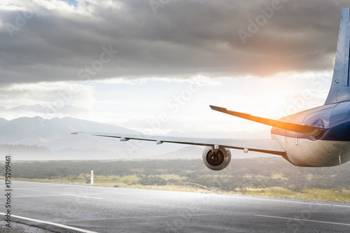 Türaufkleber Flugzeug Airliner in sky. Mixed media