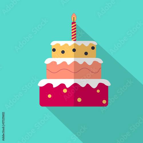 Geburtstagstorte Torte Flat Icon Fototapete