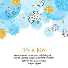 Baby Shower Boy Card Design With Abstract Watercolor Blue And Glittering Golden Circles.