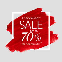 Final Sale Up To 70% Off Sign Over Watercolor Art Brush Stroke Paint Abstract Background Vector Illustration. Perfect Acrylic Design For A Shop And Sale Banners.