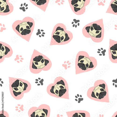 Vászonkép  Seamless pattern with cute pugs and pink hearts