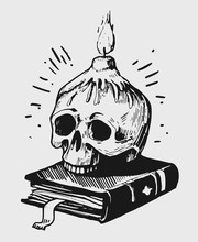 Skull With Candles And A Book