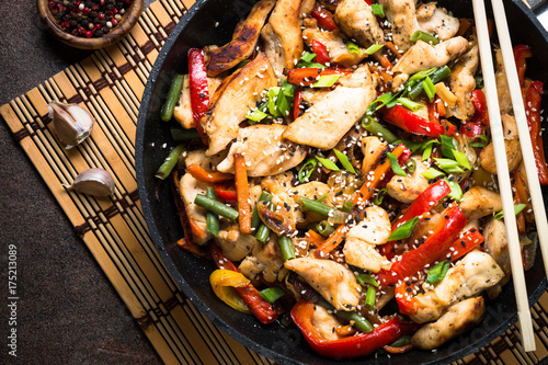 Chicken stir fry with   vegetables. Wallpaper Mural