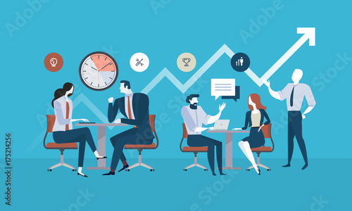 Fotografía  Flat design business people concept for project management, business meeting, working process