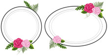 Two Flower Frames With Pink Ro...