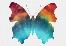 Watercolor Space Butterfly Art...