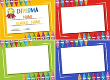Diploma And Four Different Color Background With Crayons