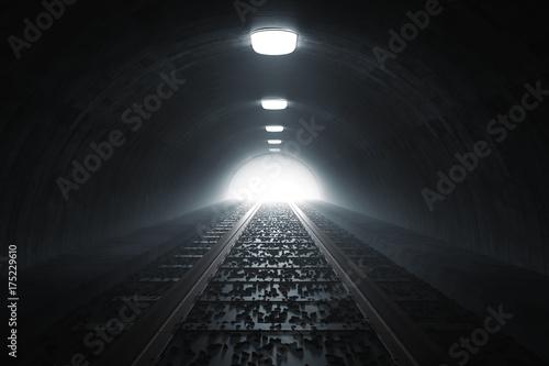 Fotobehang Spoorlijn Dunkler Tunnel von Bahn mit Gleisen und Licht am Ende des Tunnels. 3d Rendering