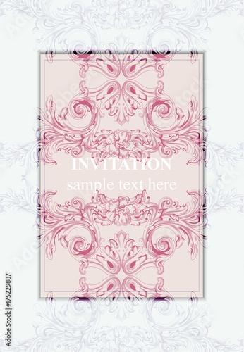 Invitation card vector royal victorian pattern ornament rich invitation card vector royal victorian pattern ornament rich baroque backgrounds primrose pink and stopboris Gallery