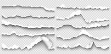 Set Of Torn Paper On Transparent Background