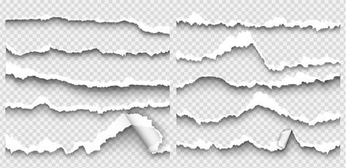Fototapeta set of torn paper on transparent background