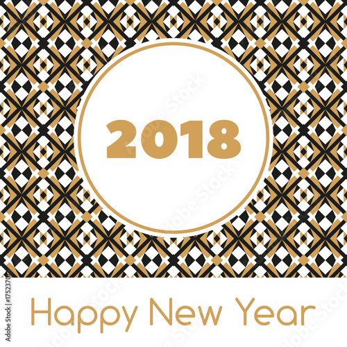happy new year 2018 banner template vector print with abstract modern geometric pattern golden