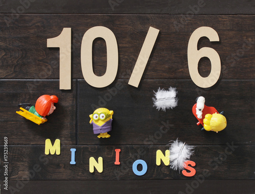 Valokuva  Minion toys for kids with colorful text