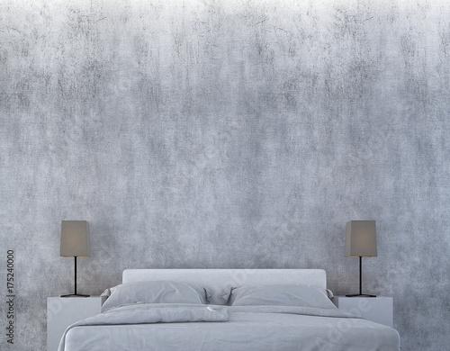 Fototapeta Loft sypialni i betonowej ściany tekstury wewnętrzny projekt / 3D rendering