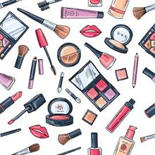 Makeup Seamless Pattern. Illus...