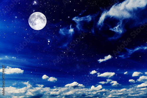 Fototapety, obrazy: Night sky with stars and moon