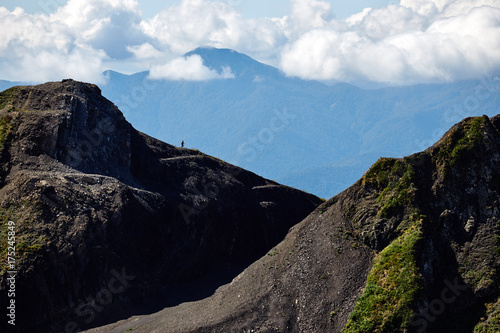 Deurstickers Zwart Beautiful mountain landscape with bright blue sky. North Caucasus.
