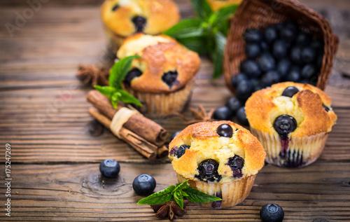 Foto-Lamellenvorhang -  Blueberry muffins  (von pilipphoto)