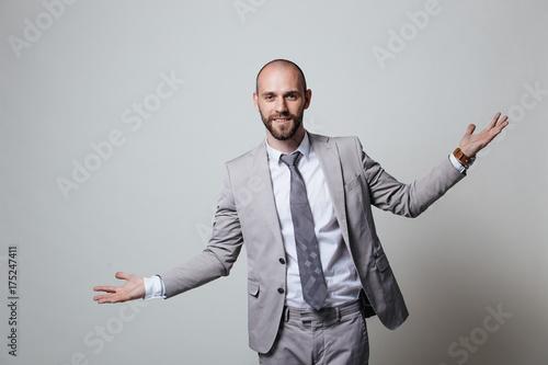 Deurstickers Ontspanning Stylish brutal manager, shot in studio, business coach, white background